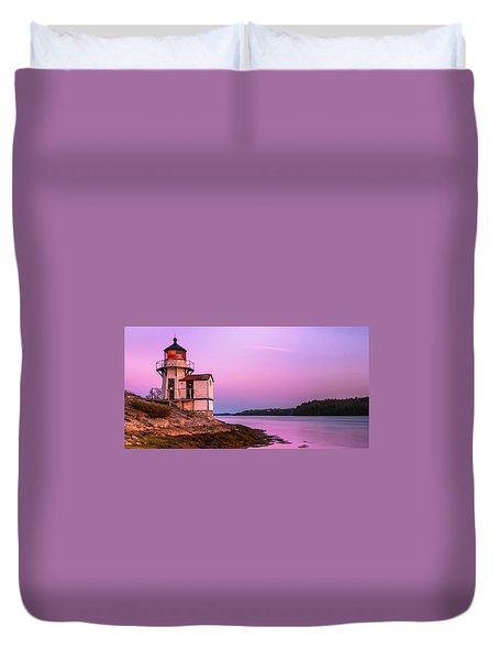 Duvet Cover featuring the photograph Maine Squirrel Point Lighthouse On Kennebec River Sunset Panorama by Ranjay Mitra