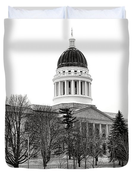 Maine State Capitol In Winter Duvet Cover