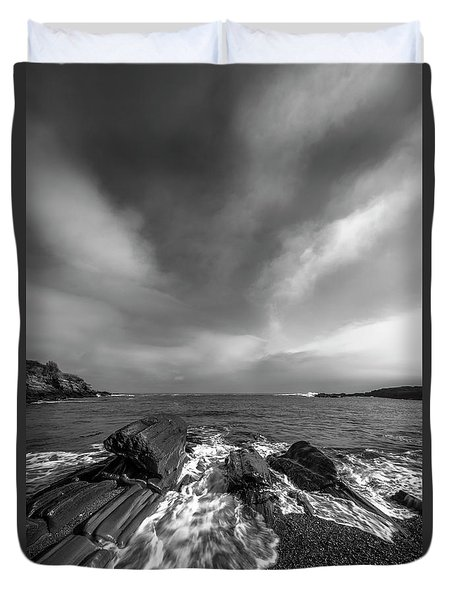 Duvet Cover featuring the photograph Maine Storm Clouds And Crashing Waves On Rocky Coast by Ranjay Mitra