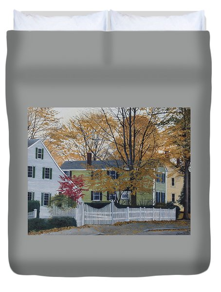Autumn Day On Maine Street, Kennebunkport Duvet Cover