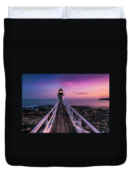 Duvet Cover featuring the photograph Maine Sunset At Marshall Point Lighthouse by Ranjay Mitra