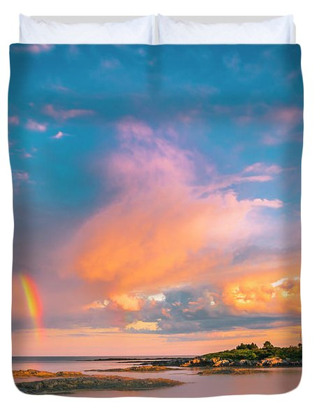 Maine Sunset - Rainbow Over Lands End Coast Duvet Cover