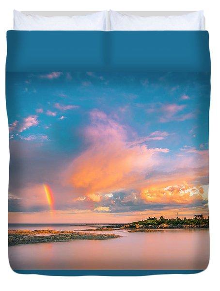 Maine Sunset - Rainbow Over Lands End Coast Duvet Cover