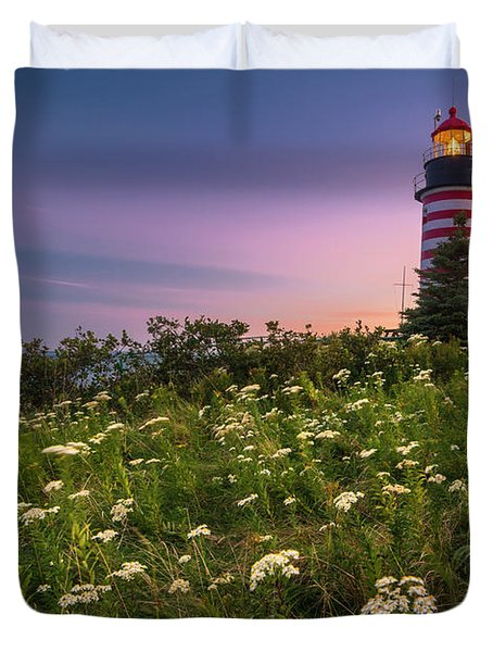Maine West Quoddy Head Lighthouse Sunset Duvet Cover