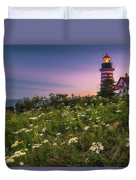 Duvet Cover featuring the photograph Maine West Quoddy Head Lighthouse Sunset by Ranjay Mitra