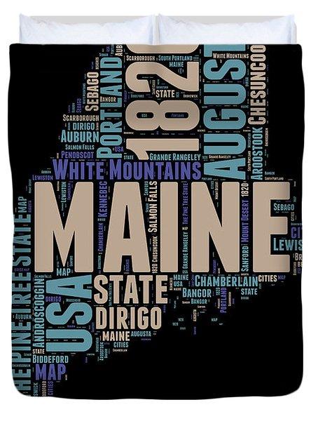 Maine Word Cloud 1 Duvet Cover