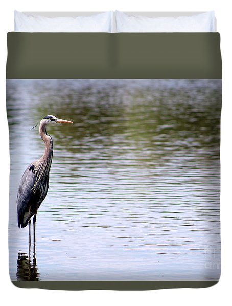 Majestic Great Blue Heron Duvet Cover
