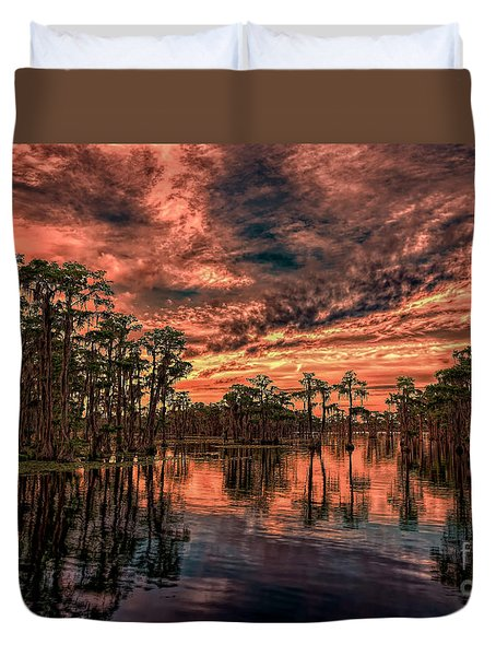 Majestic Cypress Paradise Sunset Duvet Cover
