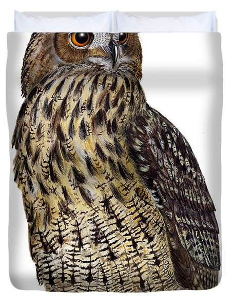 Majestic Eurasian Northern Eagle Owl Bubo Bubo - Hibou Grand-duc - Buho Real - Nationalpark Eifel Duvet Cover