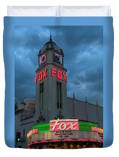 Majestic Fox Theater Neon Tribute Merle Haggard Duvet Cover