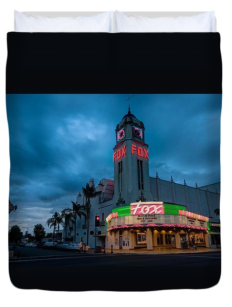 Majestic Fox Theater Sunset Stormy Night Duvet Cover