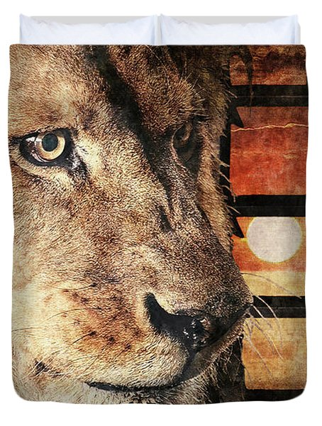 Majestic Lion In Captivity Duvet Cover