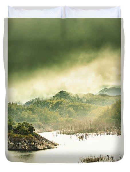 Majestic Morning Lake Duvet Cover