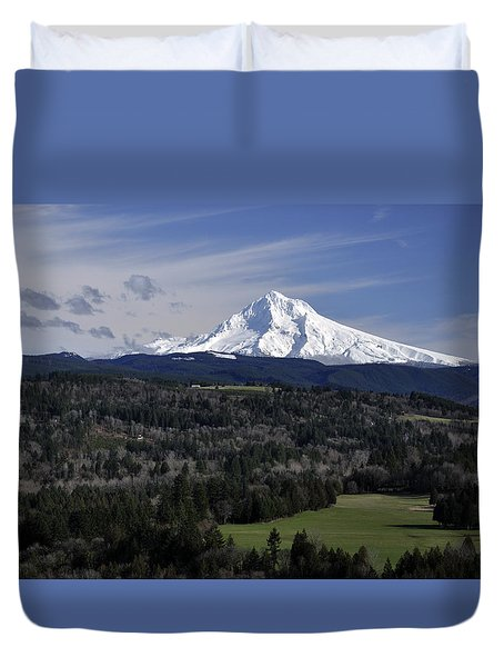 Duvet Cover featuring the photograph Majestic Mt Hood by Jim Walls PhotoArtist