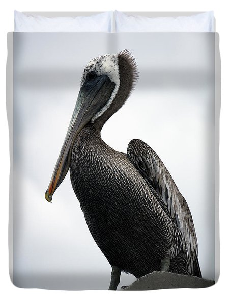 Duvet Cover featuring the photograph Majestic Pelican Photography A10317l by Mas Art Studio