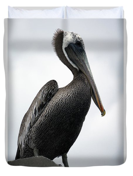 Duvet Cover featuring the photograph Majestic Pelican Photography A10317r by Mas Art Studio
