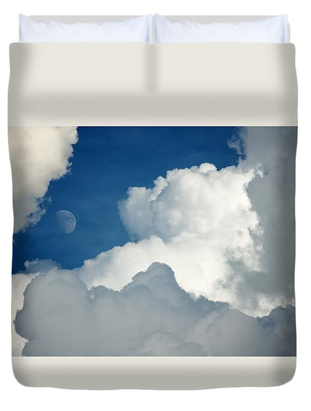 Majestic Storm Clouds With Moon Duvet Cover