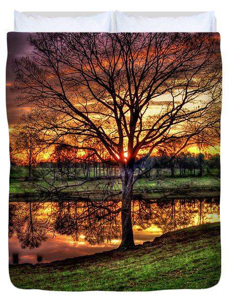 Majestic Sunrise Reflections Art Duvet Cover