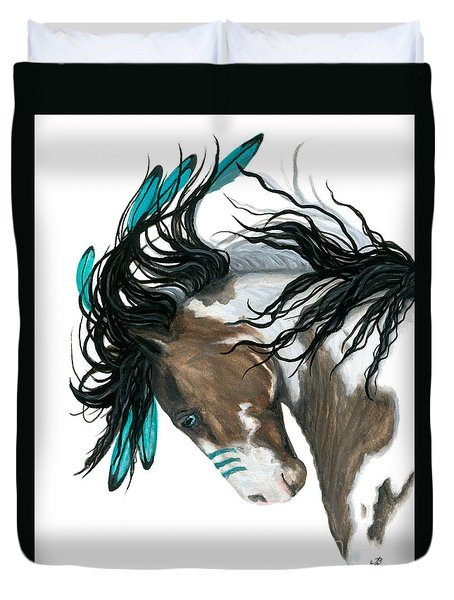 Majestic Turquoise Horse Duvet Cover by AmyLyn Bihrle