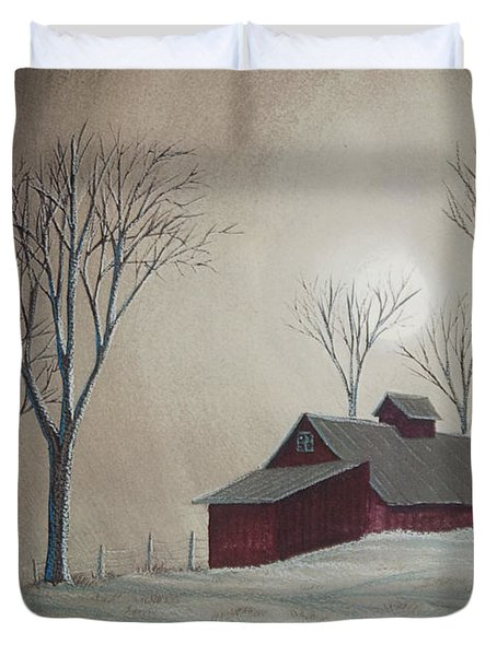 Majestic Winter Night Duvet Cover by Charlotte Blanchard