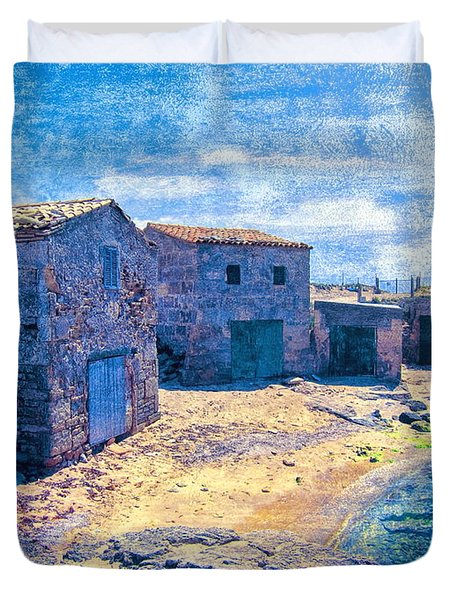 Duvet Cover featuring the photograph Majorcan Boat Huts by Andreas Thust