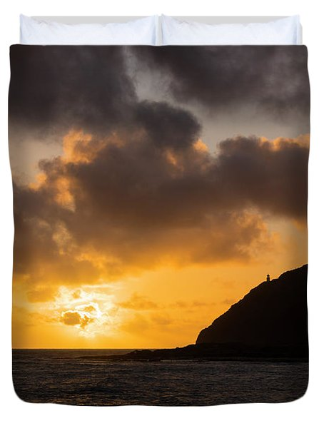 Makapuu Point Lighthouse Sunrise Duvet Cover by Brian Harig