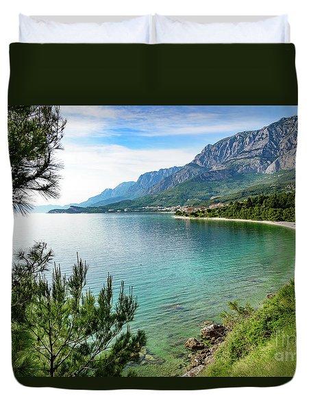 Makarska Riviera White Stone Beach, Dalmatian Coast, Croatia Duvet Cover