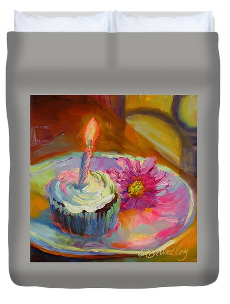 Duvet Cover featuring the painting Make A Wish by Chris Brandley