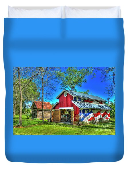 Duvet Cover featuring the photograph Make America Great Again Barn American Flag Art by Reid Callaway