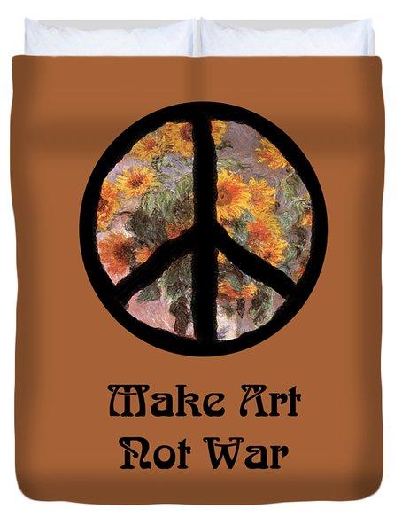 Make Art Not War Peace Sign Duvet Cover