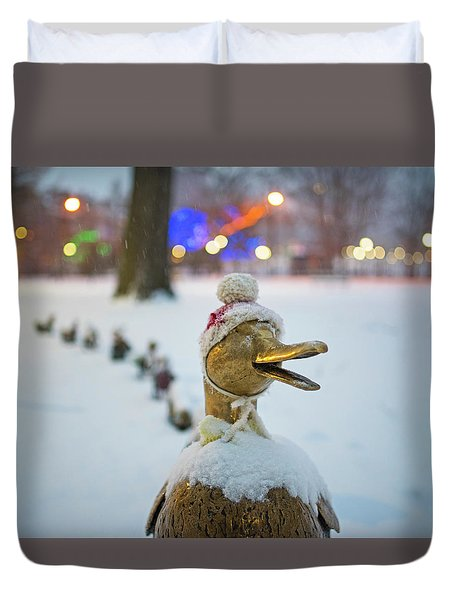 Make Way For Ducklings Winter Hats Boston Public Garden Christmas Duvet Cover