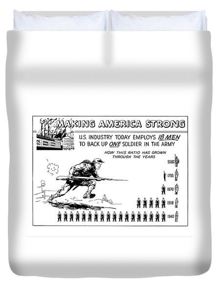 Making America Strong Cartoon Duvet Cover