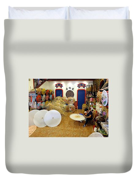 Duvet Cover featuring the photograph Making Chinese Paper Umbrellas by Yali Shi