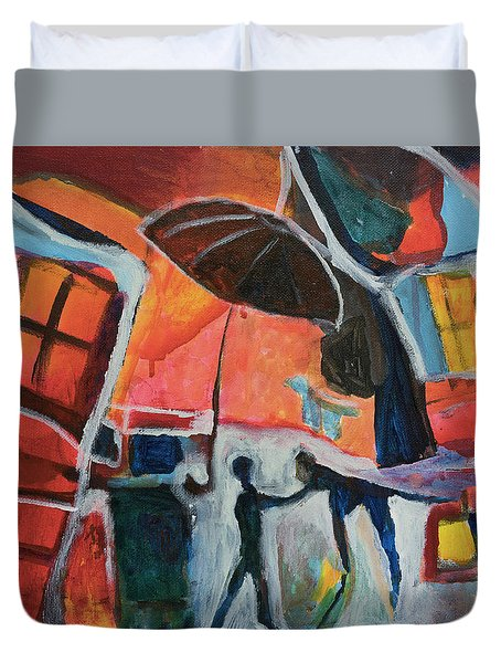 Duvet Cover featuring the painting Making Friends Under The Umbrella by Susan Stone