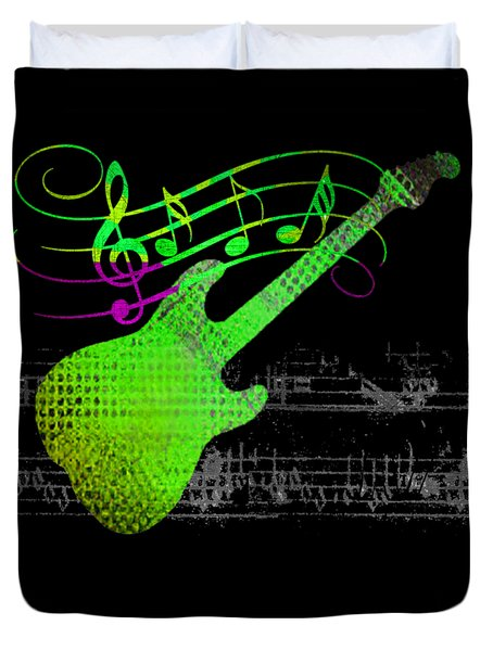 Duvet Cover featuring the digital art Making Music by Guitar Wacky