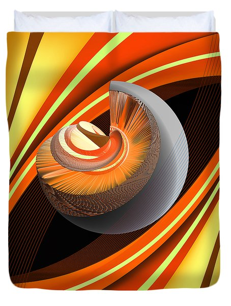 Duvet Cover featuring the digital art Making Orange Planets by Angelina Vick