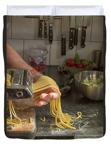 Duvet Cover featuring the photograph Making Pasta by Patricia Hofmeester