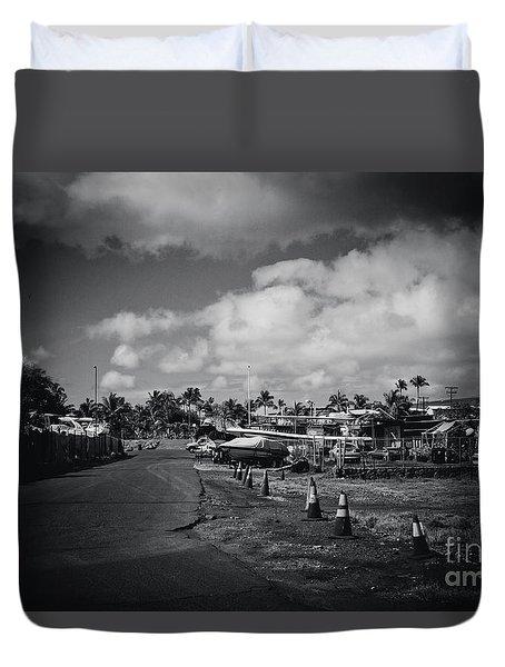 Duvet Cover featuring the photograph Mala Wharf Ala Moana Street Lahaina Maui Hawaii by Sharon Mau