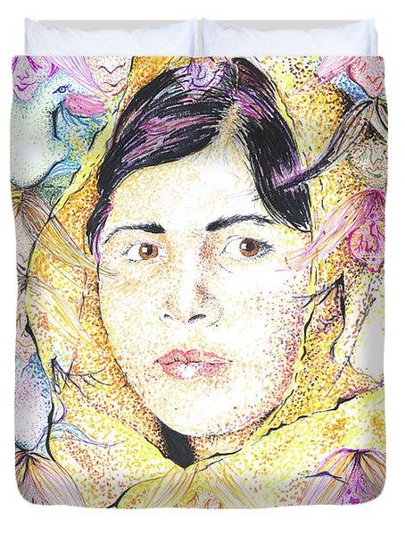 Malala-don't Ignore Us-sombra De Arreguin Duvet Cover
