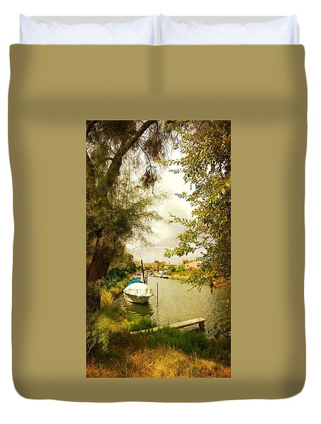 Duvet Cover featuring the photograph Malamocco Canal No1 by Anne Kotan