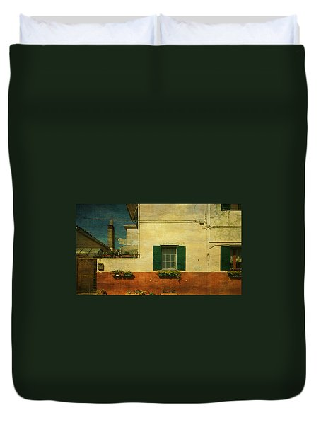 Duvet Cover featuring the photograph Malamocco Facade No1 by Anne Kotan