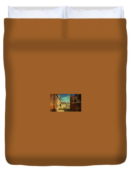 Duvet Cover featuring the photograph Malamocco Perspective No3 by Anne Kotan
