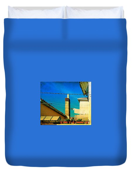 Duvet Cover featuring the photograph Malamoccoskyline No1 by Anne Kotan