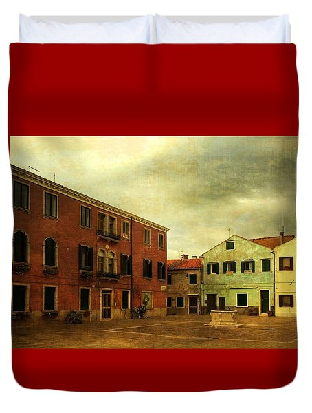 Duvet Cover featuring the photograph Malamocco Piazza No1 by Anne Kotan