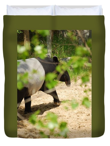 Duvet Cover featuring the photograph Malayan Tapir by Ramona Whiteaker