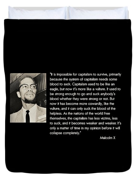 Malcolm X  On Capitalism And Vultures Duvet Cover