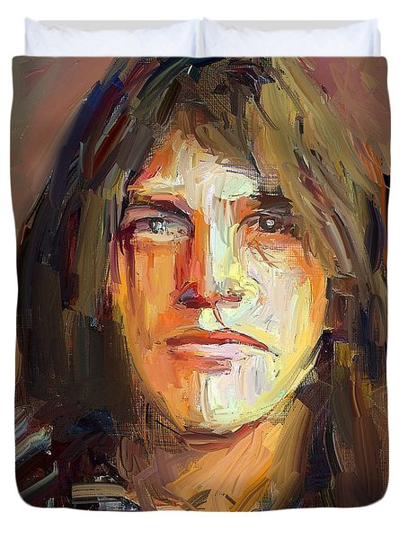 Malcolm Young Acdc Tribute Portrait Duvet Cover