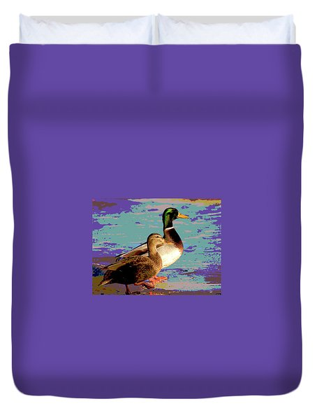 Male And Femal Mallard Duvet Cover by Charles Shoup