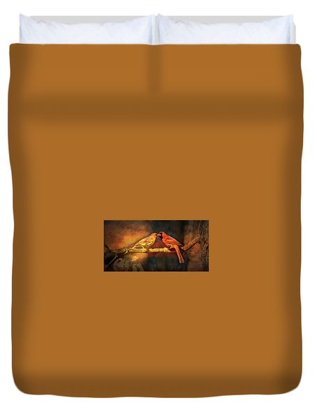 Male And Female Cardinal Duvet Cover