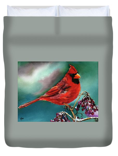 Male Cardinal And Snowy Cherries Duvet Cover